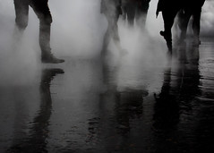 Next step (V Photography and Art) Tags: mist fog perspective walk movement people monochrome blackandwhite blackwhite silhouette silhouettes reflection contrast mood atmosphere pointofview pov tatemodern london
