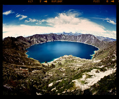 Round (tsiklonaut) Tags: pentax 67 6x7 film analog analogue analogica analoog 120 roll medium format keskformaat quilotoa equador ekvador south america andes mountains crater volcanic lake järv vulkaan vulkaaniline landscape fisheye ultrawide lainurk color slide dia positive e6 maastik mägine mountain mountanous sky erosion erosioon travel discover experience drum scan drumscan scanner pmt photomultipliertube caldera