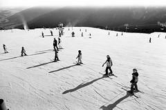 Ski school :) (matej.duzel) Tags: monochrome ski sknow kronplatz plan de corones film 35mm black white bw canon fd 28mm analog school winter mountain cold day trentino alto adige