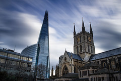 Old And New. (Andy Bracey -) Tags: bracey andybracey london theshard shard cathedral longexposure bigstopper leefilters motion quickskies building architecture southwalkcathedral cityscape landscape nikon midday 12 12oclock oldandnew southbank