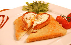 Heart On Toast for Breakfast (mariogiuffrida) Tags: egg toast frankfurter vine tomatoes breakfast proteins