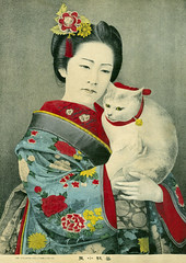 Geigi Koiku and her Cat 1883 (Blue Ruin 1) Tags: japan cat japanese tokyo bell geiko geisha neko lithograph 1883 suzu 1880s kanzashi meijiperiod geigi bijinga shitaya koiku hangyoku younggeisha
