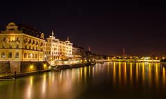 Basel (atropo8) Tags: trois night river hotel switzerland nikon long exposure shot suisse tripod basel clear brcke rhine manfrotto rois mittlere johanniterbrcke d7000