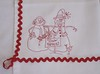Birdbrain 2 snow people (ceodraiocht) Tags: workinprogress towel snowmen runner machineembroidery redwork birdbrain