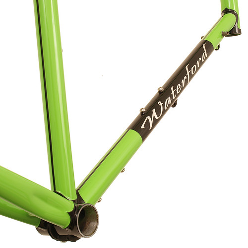 <p>Downtube detail on Waterford 22-Series Disc Touring in Big Bad Green with Black Masked Lugs and tube lines.  This 66cm frame is design to support fully loaded touring with an unmistakable style.</p>