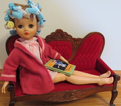 (1) Dollilkin Pampering (Foxy Belle) Tags: red vintage hair book miniature wooden doll oz wizard robe lounge victorian style velvet clean sofa makeover rollers spa treatment uneeda setee dollikin