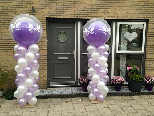 Ballonpilaar Breed Rond Lila Wit met Love Doves