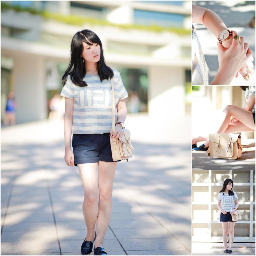 dahlia-stripe-top-uniqlo-shorts-cambridge-satchel-1