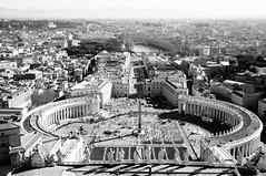roma (Andres Nunez) Tags: plaza city blackandwhite bw italy rome roma scale church st architecture river europe flickr italia eu dome piazza michelangelo peters