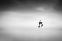 The Lighthouse (Simon Boxall) Tags: longexposure sea sky blackandwhite bw cloud seascape monochrome landscape mono blackwhite fuji finepix fujifilm essex dovercourt harwich x100