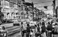 rush hour in russia (paddy_bb) Tags: street travel bw stpetersburg evening cityscape traffic russia ngc 1992 paddybb