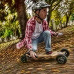 Evolve Bamboo electric longboard 4 (D-W-J-S) Tags: portrait motion blur electric speed self canon helmet bamboo powershot rig longboard vans hdr evolve selfie s100 longboarding fractalius