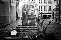 brooding love (White_V) Tags: street city woman man paris love glass canon couple sitting streetphotography wb motorcycle brooding inlove 2014 whiteandblack bildings unusualviewsperspectives
