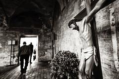 (maxlaurenzi) Tags: summer italy white black men walking cross god background jesus perspective dramatic away grazie mantua crucified