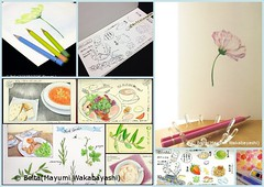 037_2014_09_14_01_s (blue_belta) Tags: flower art rose collage japan illustration watercolor lunch drawing olive shimane japanesefood draw cosmos matsue illust ランチ coloredpencil colorpencil wagashi 色鉛筆 コスモス バラ コラージュ sletch