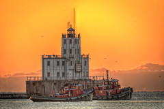 Tugs (jmishefske) Tags: park county lighthouse wisconsin sunrise dawn nikon downtown september lakemichigan shore milwaukee lakeshore tugs lakefront tugboats breakwater 2014 d7100