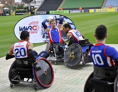 Twickenham, England. Great Britain Wheelchair Rugby players take part in a display during the Aviva Premiership match between Harlequins and Wasps at Twickenham Stoop on September 20, 2014 in Twickenham, England.