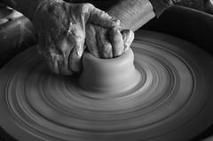 Creative hands (Beth Reynolds) Tags: clay hands pottery zen longexposure slow shutter blackandwhite mud class art balance windowlight sidelight circles