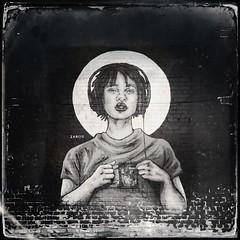 Street Art, Birmingham City Of Colours 2016 (firstnameunknown) Tags: iphoneography hipstamatic birmingham digbeth cityofcolours urban art graffiti mural streetart face portrait girl woman headphones