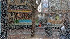 Shattered Cable Car DSC00720 (Lynn Friedman) Tags: cablecar brokenglass window powellstreet sanfrancisco 94103 favorites favs imagebrief favstock stock fav