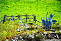 Gates and what is up there? (dark-dawud) Tags: scotland wooden pond angus gates sculptures