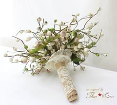 Kanzashi Wedding Bouquet (thea superstarr) Tags: flowers wedding flower vintage japanese bride handmade bridesmaids fabric heirloom kimono forever bouquet bridal maidofhonor alternative keepsake kanzashi hanakanzashi tsumamikanzashi theastarr