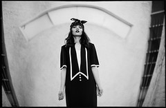 Olena 3 (stmuse) Tags: bw black film girl beauty photography dress kodak 64 konica analogue t3 transparent expired e6 f12 57mm ectachrome slaid