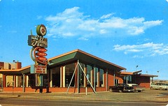 Scotchman Smorgasbord Restaurant Colorado Springs CO (Edge and corner wear) Tags: window glass sign architecture modern vintage restaurant design pc postcard modernism plate chrome arrow roadside plaid tartan midcentury