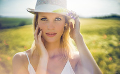 Une promenade dans les champs (Chris Dve) Tags: blue sunset portrait woman sun france flower green nature girl beauty hat backlight vintage hair soleil eyes ballerina bokeh lumire femme main grain yeux bleu reflet reflect beaut chapeau blonde flare fullframe rayon paysage fille contrejour peau visage regard douceur cheveux yeuxbleus 24x36 onirique tachederousseur dxofilmpack canonfl55mmf12 sony7 chrisdve2014wwwflickrcomchrisdeve wwwflickrcomchrisdeve 2014chrisdve