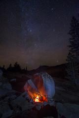 Campfire and stars, Tenaya Canyon, Yosemite National Park CA (arbabi) Tags: california orange usa nature night stars landscape fire star heaven glow bo