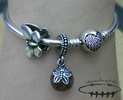 Trollbeads Fantasy Butterfly, Pandora Morning Butterfly Lavender, Pandora Circle of Love Bangle (enaktra) Tags: charm bangle pandora trollbeads
