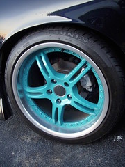 Teal rimmed tires (Cool 'Cuda) Tags: wheel teal tire rim rimmedtires