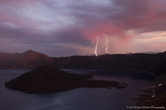 Crater Lake Lightning (Patrick Dirden) Tags: pink sunset storm reflection weather clouds oregon nationalpark purple nps dusk cascades pacificnorthwest craterlake thunderstorm lightning nationalparkservice thunder wizardisland cascademountains southernoregon craterlakenationalpark klamathcounty
