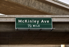 McKinley Avenue (Curtis Gregory Perry) Tags: green sign nikon highway overpass 99 fresno freeway button 12 mckinley avenue copy overhead mile reflector interchange d800e