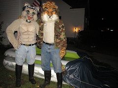 IMG_7026 (raiderwolf22) Tags: moon wet water boots tiger jeans sabertooth fursuit smilodon