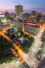 That view (Geoff ☆ RT Ficiel ☆) Tags: above street roof light sky rooftop clouds cn marriott buildings high colorful downtown view montreal wideangle spot lookingdown cathedrale basilique canadiannational placevillemarie sunlifebuilding pvm desjardin