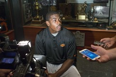 Image Taken at the Oklahoma State/Florida State Media Lunch, Thursday, August 21, 2014, Gallagher-Iba Arena Media Room, Stillwater, OK (OSUAthletics) Tags: cowboys seminoles osu preview floridastate 2014 seales medialunch jhajuanseales