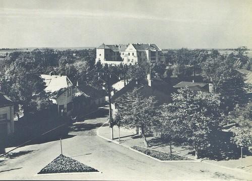 widok na szydłowiecki zamek z wieży ratuszowej