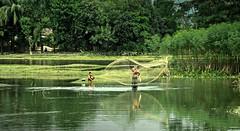 Fishing... (__) Tags: boy people man reflection green net nature fishing pond nikon lifestyle