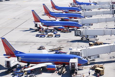 A herd of Southwest airplanes grazing at McCarran International Airport in Las Vegas (Hazboy) Tags: las vegas vacation usa west tower america us tour control nevada september western 2014 hazboy hazboy1 dswt tossmeanote