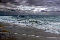 sky and sand (o x y) Tags: ocean light sky storm france sand waves atlantic gelb