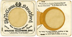 Hygienic Telephone Disc, Bellevue-Stratford Hotel, Philadelphia, Pa., 1906 (Alan Mays) Tags: old philadelphia vintage ads paper advertising typography technology pennsylvania antique circles ephemera pa health patents round type covers hotels 1906 wreaths advertisements fonts protection printed prevention hygiene phones candlestick discs circular telephones 1900s companies disks typefaces germs diseases june12 hygienic laurels diseaseprevention laurelwreaths bellevuestratford candlesticktelephones bellevuestratfordhotel protectivecovers saniphone hygienicdiscs telephonediscs phonediscs hygienictelephonediscco hygienictelephonedisc