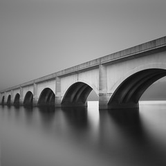Arches by Rolie.K - My interpretation of the bridge at Ladybower reservoir in Peak district. I hoped to have some nice cloud movement etc but ended up with fog mist and generally dull weather:) As always any comments or criticism are greatly appreciated and thanks for looking.