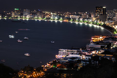 Pattaya City (Patrick Foto ;)) Tags: ocean life street travel light sea vacation urban panorama orange color reflection tower beach skyline architecture night port buildings relax thailand outdoors hotel bay town twilight scenery asia downtown ship glow cityscape exterior estate view contemporary south illumination illuminated tropical destination metropolis tall nightlife curve built attraction pattaya