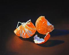 glowing mandarin (hebrews110) Tags: orange mandarin glowing light fruit still life realistic pastel watercolor painting
