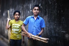 Cricket Journeys (N A Y E E M) Tags: boys neighbours stumps bat cricket today friday afternoon street rabiarahmanlane chittagong bangladesh candid portrait windshield