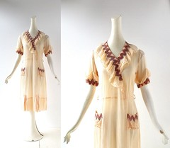 1930s Cockeyed Caravan cotton dress with ruffles and zig zag embroidery (Small Earth Vintage) Tags: smallearthvintage vintageclothing vintagefashion dress 1930s 30s peach cotton ruffles daydress zigzag embroidered