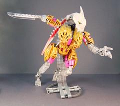 Freya - Springing into Action! (0nuku) Tags: bionicle lego toa crystal quartz pink gold clear crast kanohi custom mask prosthetics amputee