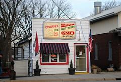 Chubby's Pizza Shack, Salem Wisconsin (Cragin Spring) Tags: unitedstates usa unitedstatesofamerica chubbys pizza shack chubbyspizzashack chubbyspizza building flag carryout restaurant salem salemwi salemwisconsin wisconsin wi