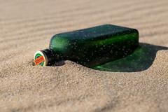 Jägermeister (Edmonton Ken) Tags: glass bottle green jägermeister beach sand wind blow ripples shadow curve line color booze alcohol